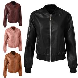 NE PEOPLE Women Fitted Faux Leather Zip Up Moto Jacket with