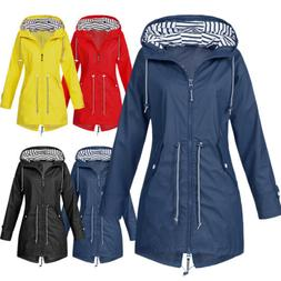 Women Ladies Raincoat Wind Waterproof Jacket Hooded Rain Mac