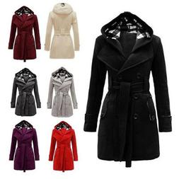 Women Ladies Winter Hooded Trench Coat Long Peacoat Trench O