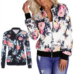 Women Lady Camo Flower Floral Short Coat Jacket Print Bomber