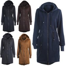 Women Long Jacket Ladies Winter Casual Warm Hooded Coat Oute
