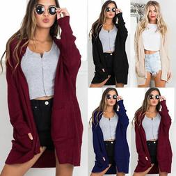 women long sleeve knitted cardigan loose casual