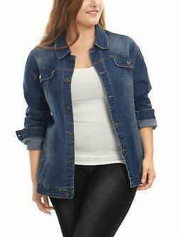 Women Plus Size Stitching Button Front Washed Denim Jacket