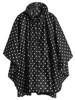 LINENLUX Women Rain Poncho Hooded Coat with Pockets Outdoors