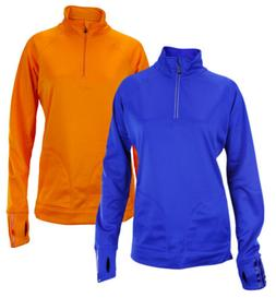 Adidas Women's 1/4 Zip Training Track Jacket - Orange & Blue