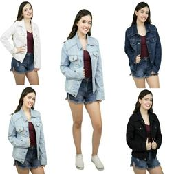 Women's Basic Denim Jacket Button Down Long Sleeve Ladies St
