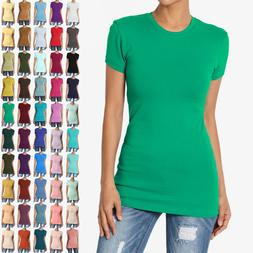 TheMOGAN Women's Basic Plain T SHIRT CREW Neck Short Sleeve