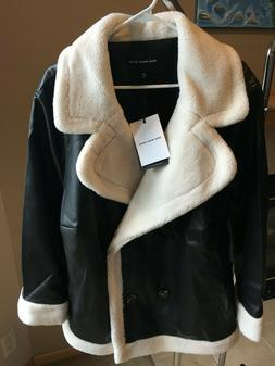 Women's Black Faux Leather Bomber Jacket - Fall Fashion by W