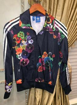 Women's Adidas Black Floral Track Jacket New Size Small New