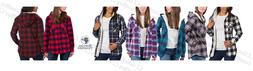 Women's Boston Trader Sherpa Lined Flannel Hoodie Hooded Win