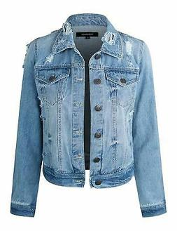 makeitmint Women's Casual Distressed Washed Boyfriend Look S