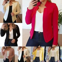 Women's Casual Work Office Cropped Blazer Open Front Long Sl