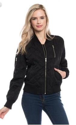 Women's Casual Quilted Jacket Short Bomber medium weight Jac