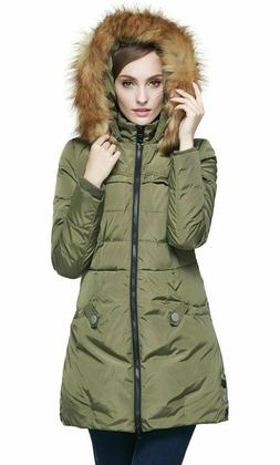 Orolay Women's Down Jacket Hood Small Green Coat Jacket Wint