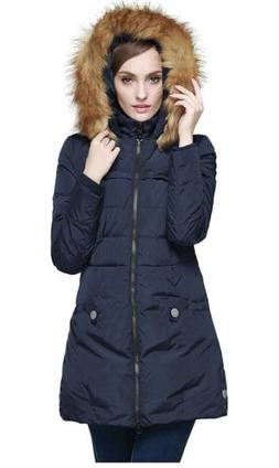 Orolay Women's Down Jacket with Faux Fur Trim Hood, Navy, X-