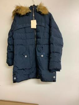 Orolay Women's Down Jacket with Faux Fur Trim Hood, XL, Navy