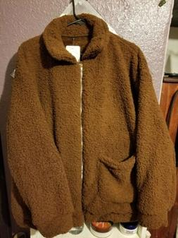 Women's Faux Fur Teddy Jacket Zip Up  Fluffy Dark Brown Over