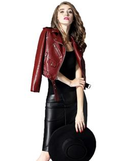 Fitaylor Women's Faux Leather Motorcycle Jacket PU Slim Shor