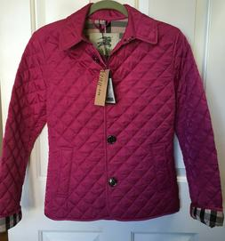 BURBERRY Women's Fuchsia Diamond Quilted Jacket New with Tag