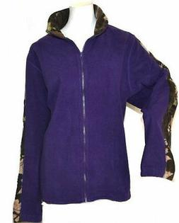 Women's Full Zip Solid Fleece Jacket In Purple - 2X