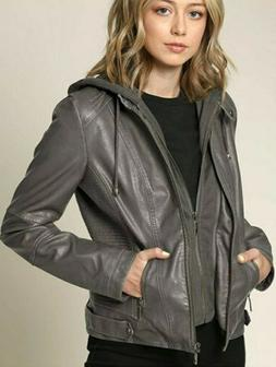 Lock and Love Women's Hooded Faux Leather Moto Biker Jacket