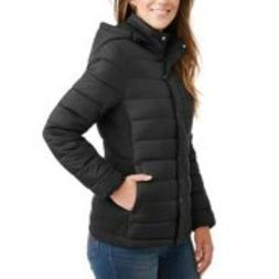 Time and Tru Women's Hooded Puffer Jacket BLACK PLUS SIZES 3