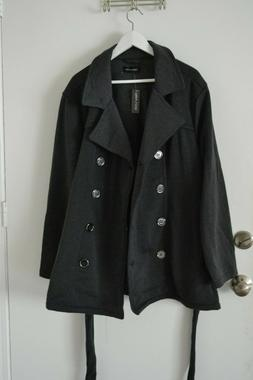 New Look Women's Jacket Belted Elegant Coat Gray Button Up P