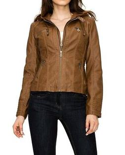 Lock and Love Women's Jacket Brown Size Small S Removable Ho