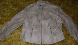 WOMEN'S MAX JEANS JACKET PLUS SIZE 1X LEATHER LIKE