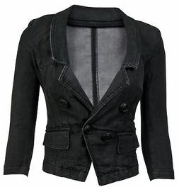 Women's Juniors Long Sleeve Denim Blazer Fitted Jacket