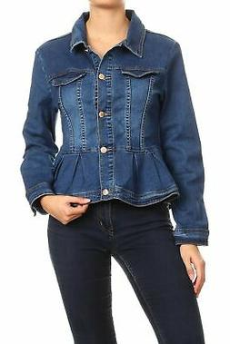 Women's Juniors Premium Denim Peplum Bodice Long Sleeve Jack