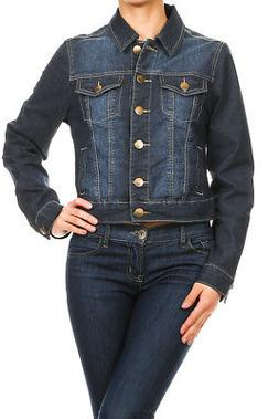 Women's Juniors Premium Stretch Denim Long Sleeve Cropped Ja