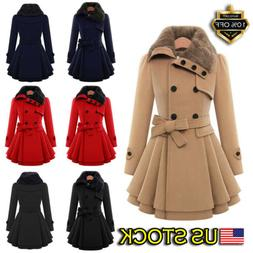 Women's Ladies Fur Collared Winter Long Peacoat Coat Trench