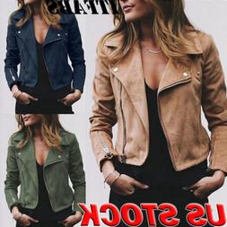 Women's Ladies Jacket Flight Coat Zip Up Biker Casual Loose