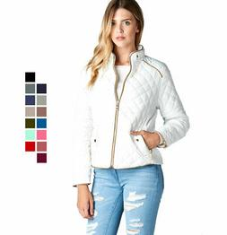 Women's Lightweight Quilted Padding Jacket Suede Piping Cont