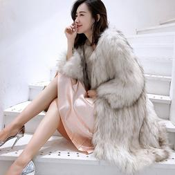 Women's Luxury Real Fur Long Loose Warm Furry Round Collar C
