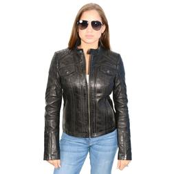 Milwaukee Leather Women's Mandarin Scuba Collar Jacket W/ Qu