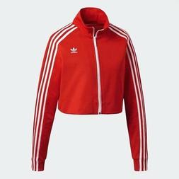 Women's Adidas Originals Cropped Track Jacket Red  DH2726