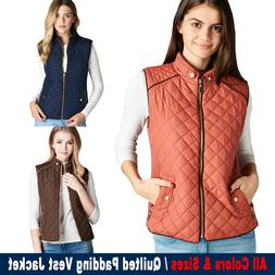 Women's Quilted Padding Vest Jacket Lightweight Quilted Top
