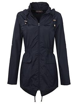 Envy Boutique Women's Plain Parka Mac Hooded Waterproof Rain
