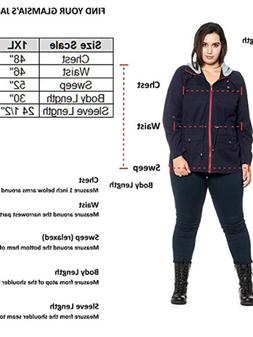 Women's Plus Size Anorak Cotton Jacket with Removable Colorb
