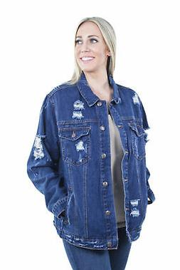 Women's Plus Size, Oversize Ripped Denim Jackets Long Sleeve
