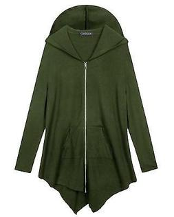 Urban CoCo Women's Pluse Size Hooded Sweatshirt Jacket Cape