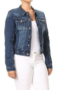 Women's Premium Denim Jackets Long Sleeve Jean Coats