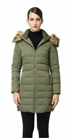 Orolay Women's Puffer Down Jacket Winter Coat Green Hood Fau