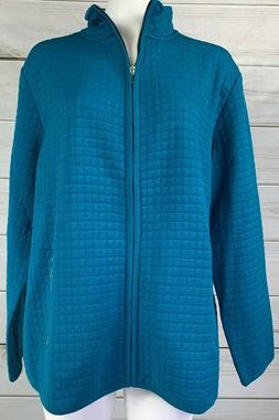 Karen Scott Women's Quilted Lightweight Jacket Teal Blue Plu