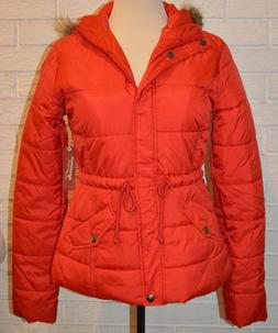 Women's Arizona Red Lightweight Quilted Faux Fur Trim Hooded