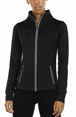 icyzone Women's Running Shirt Full Zip Workout Track Jacket