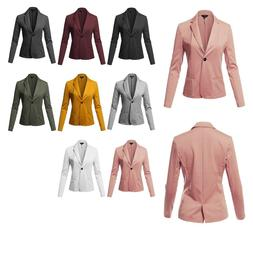 FashionOutfit Women's Solid Formal Single Button Up Long Sle