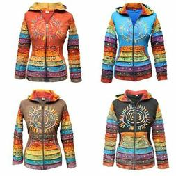 Women's Sun Patchwork Pixie Hippy Ribs Hoodie Light Cotton H